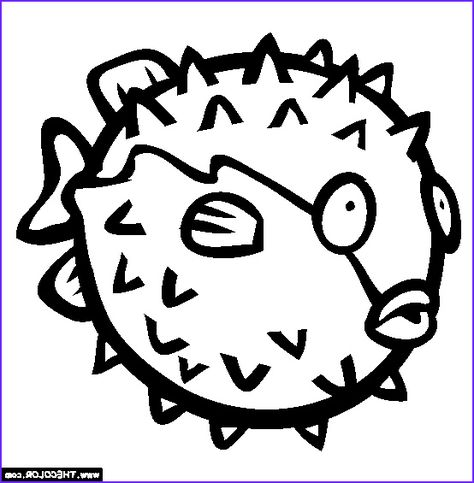 Puffer Fish Coloring Page Porcupine Puffer Fish Free Colouring