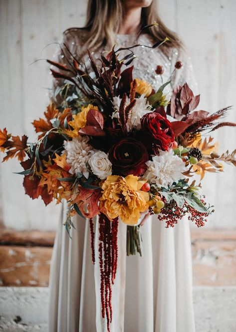 Get The Look: Wedding Bouquet Made with Silk Fall Flowers-Create your bridal bouquet with premium artificial and dried flowers from . Fall Wedding Bouquets, Fall Wedding Flowers, Fall Wedding Colors, Fall Flowers, Dried Flowers, Floral Wedding, Bridal Bouquet Fall, Dried Flower Bouquet, October Flowers