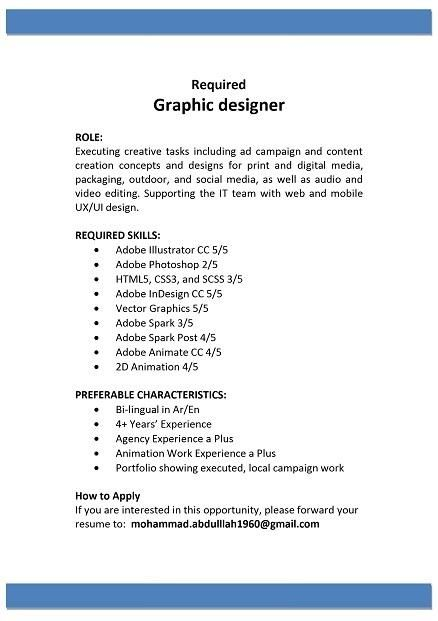 Graphic Designer Kuwait Job Openings Graphic Design Job Opening Design