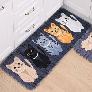 フロアマット動物猫プリント浴室キッチンカーペット玄関マット猫フロア