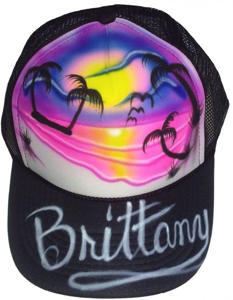 54a57d45181 Airbrushed Beach Scene Hat