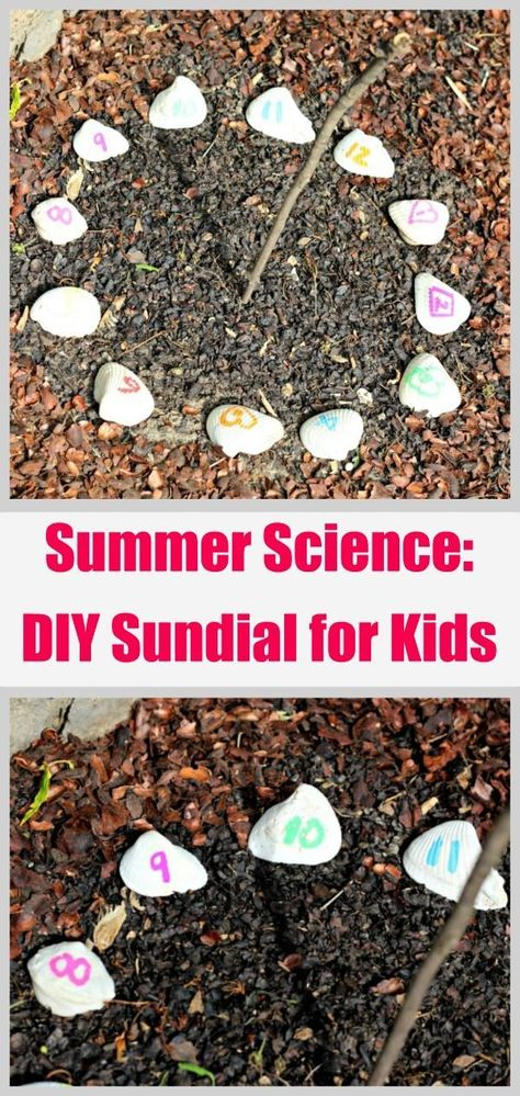 Summer Science Sundial For Kids Explore Solar Energy With This Easy Nature Craft That Can Be Built Using A Stick And Seashells Or Rocks Kids Will Love Seeing How They Can Tell Time Using An Outdoor Sundial And Learn How The Sun Moves Throughout The Day Nature Activities, Summer Activities For Kids, Stem Activities, Summer Kids, Diy For Kids, Garden Crafts For Kids, Kids Outdoor Activities, Kids Outdoor Crafts, Summer Kid Crafts