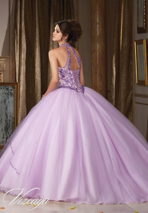 Jeweled Halter Quinceanera Dress by Mori Lee Vizcaya 89114