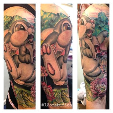 Amazing full color male tattoo sleeve featuring Thumper from Walt Disney's Bambi by Meghan Patrick.