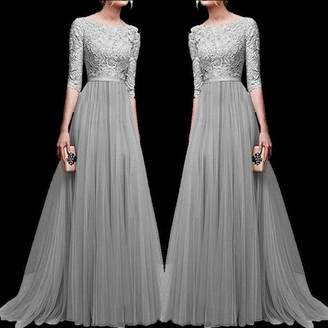 Womans Chiffon Lace Evening Formal Party Ball Gown Prom Bridesmaid Long Dress UK
