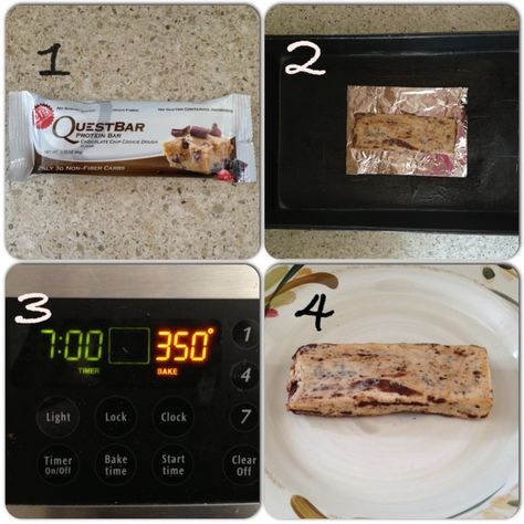 4 steps to a perfectly baked QUEST BAR! Trust me, you don't want to miss this. Simply bake ANY FLAVOR QUEST BAR at 350 degrees for 7-10 minutes. I baked my chocolate chip cookie dough Quest for 7 minutes so to keep it gooey on the inside...tastes exactly like a store bought cookie! DELICIOUSSSS.