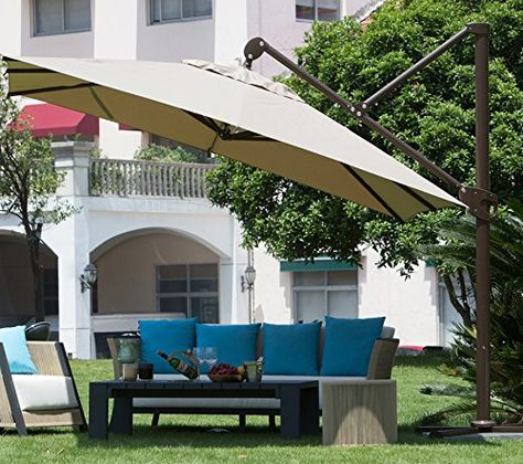 Amazon Com Abba Patio 11 Ft Deluxe Square Offset Cantilever Patio Umbrella Outdoor Hanging Canopy With Offset Patio Umbrella Cantilever Patio Umbrella Patio
