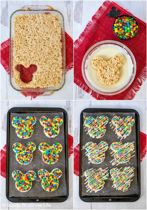 M&M's Mickey Mouse Rice Krispie Treats - chocolate and M&M's makes these rice krispie treats look and taste just like the Mickey treats in the Disney parks. Make this copycat recipe for the Disney fan in your life. Mickey Mouse Birthday Decorations, Theme Mickey, Mickey 1st Birthdays, Mickey Mouse Cookies, Mickey Mouse Clubhouse Birthday Party, Mickey Birthday, 2nd Birthday, Mickey Party, Mickey Mouse Desserts