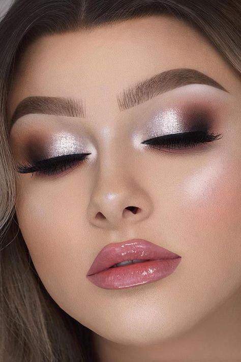 30 Attractive Bride Makeup Ideas ❤ bride makeup shimmer classy silver makeup and pink gloss lips jessicarose_makeup #weddingforward #wedding #bride #bridemakeup