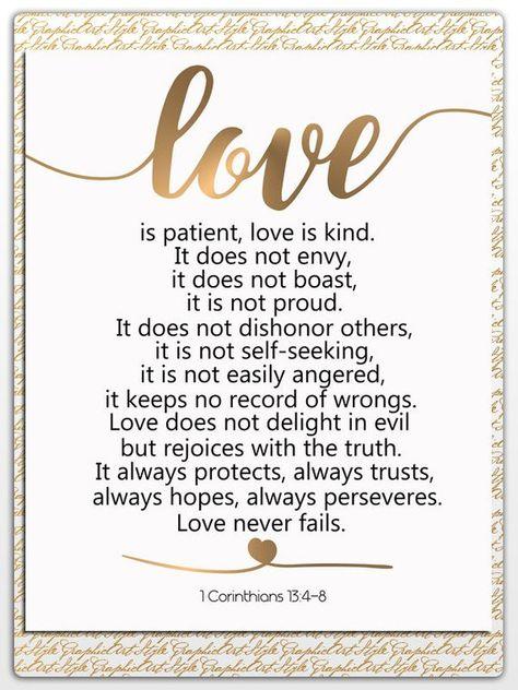 Love is Patient Love is Kind Art 1 Corinthians 13:4-8 Bible Verse Quote Art Scripture Printable Chri