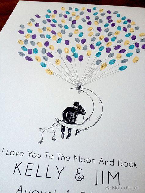 Luna par del globo, el globo de huella digital original de libro de visitas (tintas disponibles por separado)