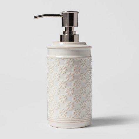 Ceramic Embossed Pattern Soaplotion Dispenser Cream Ivory