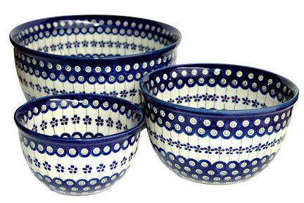 Blue Rose Polish Pottery: Flowering Peacock Mixing Bowl Set