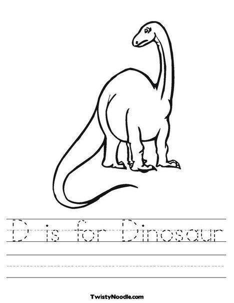 Dinosaur Worksheets For Kindergarten D Is For Dinosaur Worksheet From Twistynoodl Dinosaur Worksheets Kindergarten Worksheets Printable Kindergarten Worksheets