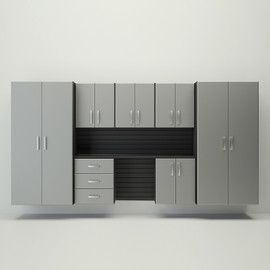 8pc Cabinet Deluxe Workstation Black Silver Garage Storage Systems Garage Storage Storage System