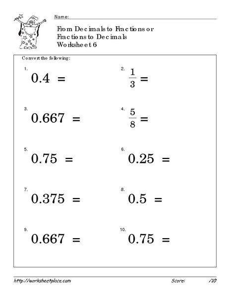 Decomposing Fractions 4th Grade Worksheet Convert Fractions And Decimals 6 Worksheet For 4th 6th Decimals Worksheets Math Fractions Worksheets Math Fractions 4th grade conversion worksheets