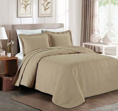 Queen Cal King Bed Beige Khaki Plaid Oversized 3 Pc Quilt Set Coverlet Bedspread Ebay Bed Spreads Bedspread Set Bedding Sets California king quilts and coverlets