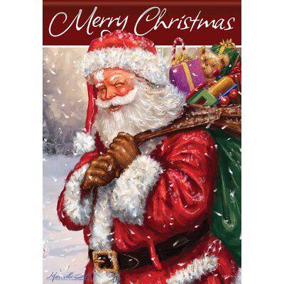 Carson Home Accents Glittertrends Jolly Santa 2 Sided Polyester Polyester Blend 18 X 13 In Garden Flag Jolly Santa Art Kits Glitter Christmas