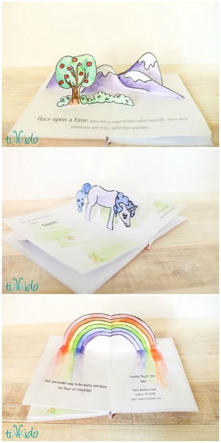 Learn a few extremely basic techniques for making pop up books and cards, and how to adapt them to make this My Little Pony pop up birthday invitation.