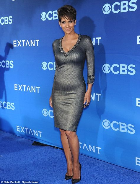 Halle Berry wore a skin-tight silver dress to the world premiere of her new show Extant