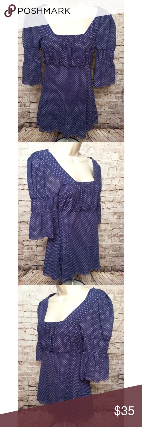 Sweet Pea Anthropologie blue boho peasant blouse Perfect condition.  Size medium Anthropologie Tops Blouses