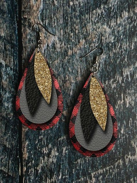 Buffalo Plaid, Gold Glitter, and Grey Leather Drop Earring Sublimation Design - Women's style: Patterns of sustainability Diy Leather Earrings, Diy Earrings, Teardrop Earrings, Leather Jewelry, Crochet Earrings, Bracelet Making, Jewelry Making, Jewelry Crafts, Geek Jewelry