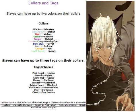 slave can have up five colors on their collar