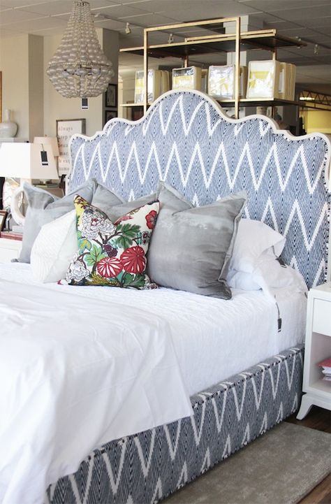 Beautiful and inviting upholstered bed.
