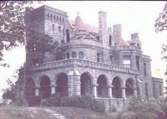 Rhodes Hall Castle is in Atlanta: Between 1901 and Amos Giles Rhodes assembled an estate of 114 acres on Peachtree at Brookwood, stretching across Tanyard Creek from Peachtree and including most of the present Brookwood Interchange of There