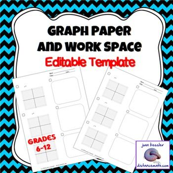 Graph Paper and Table Handout with Editable Template - half inch graph paper template