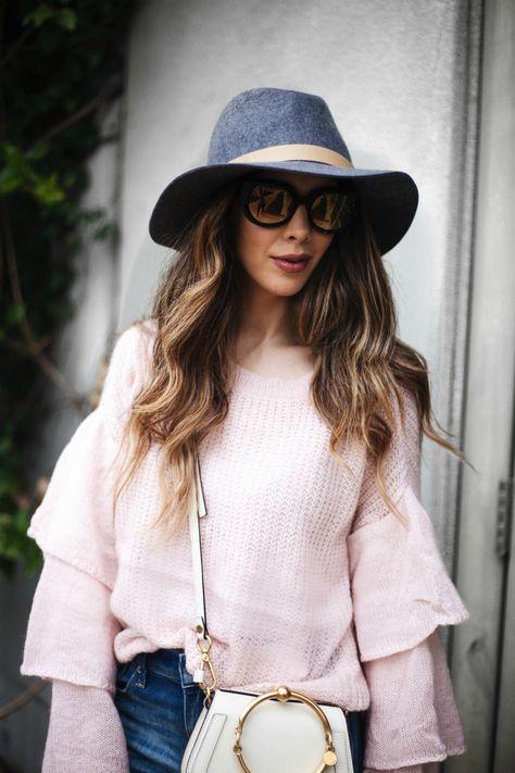 shoulderbag Chicwish pink ruffle sweater,...