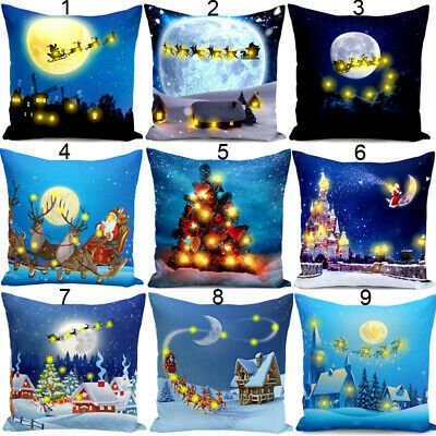 Merry Christmas Green Stars Pillow Case Ornament Cushion Covers Home Sofa Decor