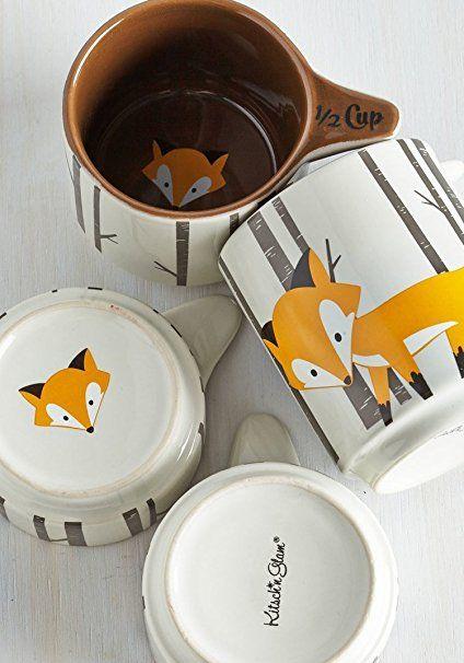 Amazon Com Kitsch N Glam Ceramic 4 Measuring Cup Set Fox Theme