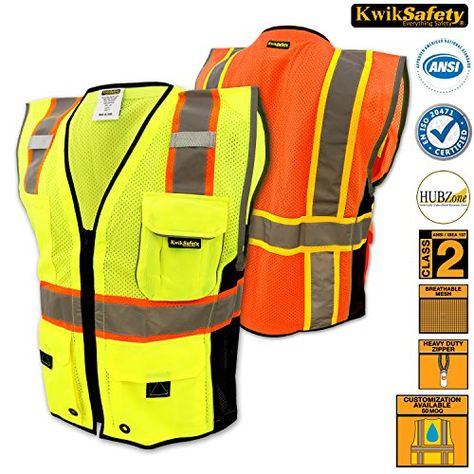 Hi Vis Personalised Vest Safety Reflective Waistcoat Security Hi Viz 4XL, Orange