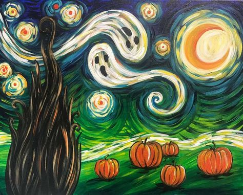 Painting Parties & Classes in Fayette Mall - Paint & Sip Events - Van Gogh's Starry Night – Halloween - Looks Halloween, Theme Halloween, Fall Halloween, Halloween Crafts, Halloween Night, Halloween Trivia, Spooky Halloween Pictures, Halloween Yard Art, Amazing Halloween Costumes