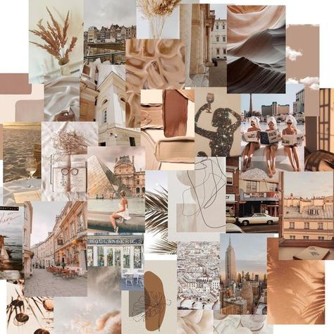 Ready to Print Tan Aesthetic Travel Vibes Wall Collage Kit | Pack of 50 photos | Digital File