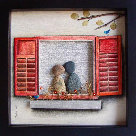 Un regalo de compromiso único, par personalizado regalo, regalo de boda, regalos de amor, regalo de aniversario, familia regalo guijarro arte para
