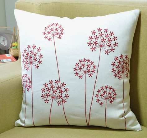 Red Flower Pillow Cover White Linen Red Queen Ann Embroidered Floral Decorative Pillow Moder Floral Decor Pillows Floral Throw Pillows Flower Throw Pillows