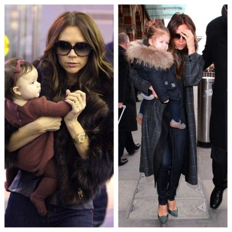 Victoria Beckham & her beautiful daughter in furs
