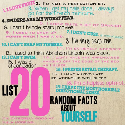 What about as a project for kids?  20 things my teachers should know about me?  day-1-20-random-facts-about-myself