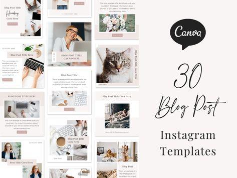 Instagram Template - Blog Post Instagram Post, Instagram Post Templates, Canva Instagram Template, Instagram Post Template Canva