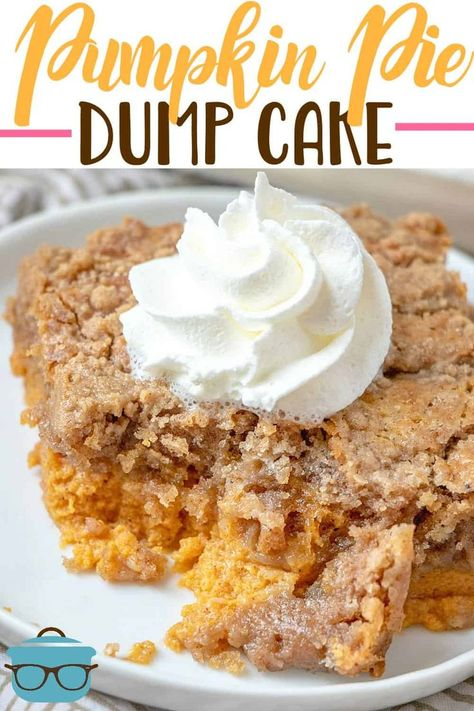 holiday desserts PUMPKIN PIE DUMP CAKE (+Video) The Country Cook - Pumpkin Pie Dump Cake gets its name by dumping the ingredients into the baking dish. It is like a pumpkin pie and a spice cake all in one! Mini Desserts, No Cook Desserts, Just Desserts, Delicious Desserts, Easy Fall Desserts, Dessert Halloween, Halloween Cupcakes, Dump Cake Recipes, Dessert Recipes
