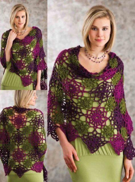Z090 Crochet PATTERN ONLY Lacy Spaces Wrap Shawl Pattern
