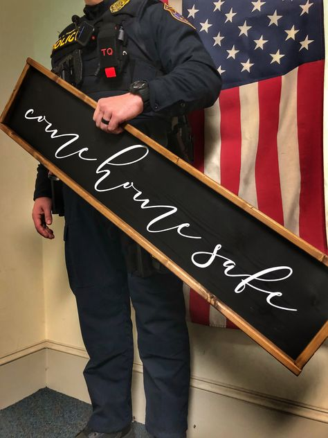 Excited to share this item from my #etsy shop: Police Wife Wood Sign / Police Officer Gift / Law Enforcement Sign / Police decor / Come Home Safe / Military Decor / Police Wife