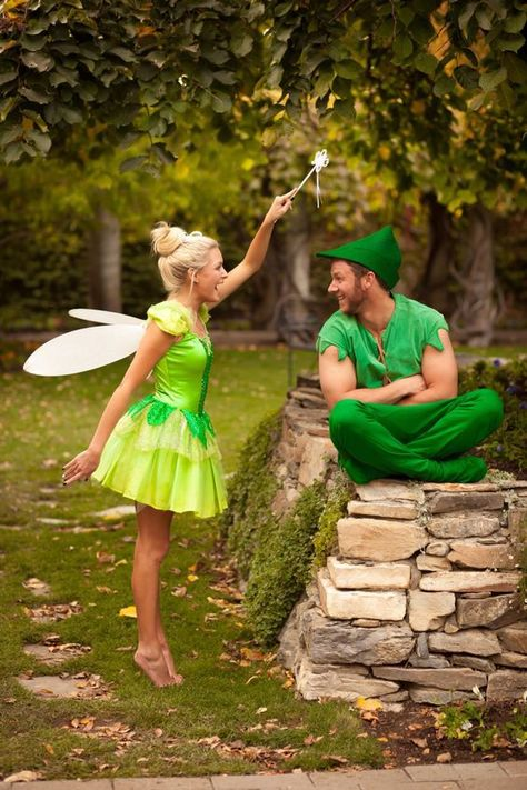DIY Couples Halloween Costume Ideas - Peter Pan and Tinkerbell Disney Theme Couple Halloween Costume Idea college costume, happy costume, Halloween costume