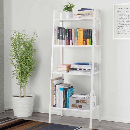 Home Leaning Wall Shelf Bookcase Ladder Bookshelf