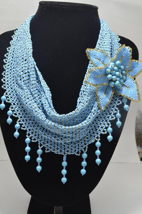 Blue and Gold Turquoise Necklace Beaded Scarf Necklace Flower Brooch Handwoven Statement Bridal Jewelry Beach Wedding Artisan Jewelry Gift