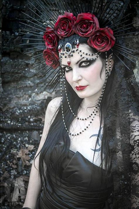 Hey, I found this really awesome Etsy listing at https://www.etsy.com/listing/539186646/empress-headdress-red-rose-crown-black