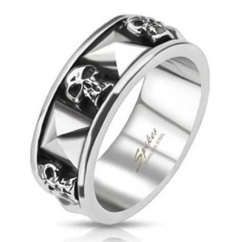 Skull And Pyramid Stainless Steel Mens Goth Biker Ring Sizes 9-13 (Fl294)