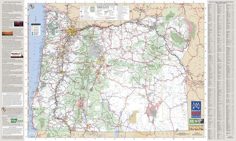 Oregon official state map, by the Oregon Department of Transportation